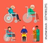 disabled handicapped diverse... | Shutterstock .eps vector #1074581291