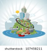 colorful cartoon city | Shutterstock .eps vector #107458211