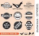 vector set  happy halloween... | Shutterstock .eps vector #107458331