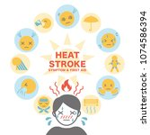 heat stroke symptom and first... | Shutterstock .eps vector #1074586394