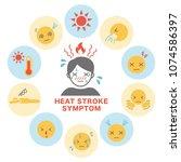 heat stroke symptom icon card.  | Shutterstock .eps vector #1074586397