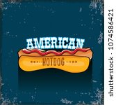 vector cartoon american hotdog... | Shutterstock .eps vector #1074586421