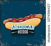 vector cartoon american hotdog... | Shutterstock .eps vector #1074586427