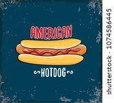 vector cartoon american hotdog... | Shutterstock .eps vector #1074586445