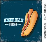 vector cartoon american hotdog... | Shutterstock .eps vector #1074586451