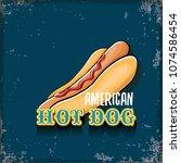 vector cartoon american hotdog... | Shutterstock .eps vector #1074586454