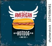vector cartoon american hotdog... | Shutterstock .eps vector #1074586481