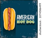 vector cartoon american hotdog... | Shutterstock .eps vector #1074586499
