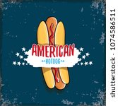 vector cartoon american hotdog... | Shutterstock .eps vector #1074586511