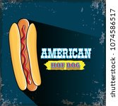vector cartoon american hotdog... | Shutterstock .eps vector #1074586517