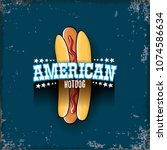 vector cartoon american hotdog... | Shutterstock .eps vector #1074586634