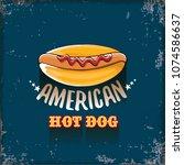vector cartoon american hotdog... | Shutterstock .eps vector #1074586637