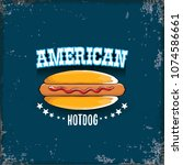 vector cartoon american hotdog... | Shutterstock .eps vector #1074586661
