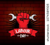 1 may   happy labour day.... | Shutterstock .eps vector #1074589505
