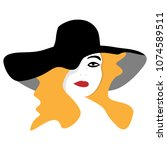 a woman in a stylish hat is...   Shutterstock .eps vector #1074589511