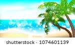 horizontal summer time palm... | Shutterstock .eps vector #1074601139