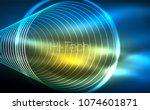 circular glowing neon shapes ... | Shutterstock .eps vector #1074601871
