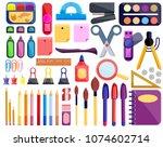 back to school students...   Shutterstock .eps vector #1074602714