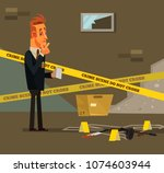thinking young modern detective ... | Shutterstock .eps vector #1074603944
