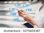 close up woman hand using...   Shutterstock . vector #1074605387