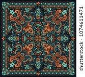 vector ornament paisley bandana ... | Shutterstock .eps vector #1074611471