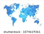 world map   abstract geometric... | Shutterstock .eps vector #1074619361