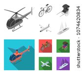 bicycle  rickshaw  plane  yacht.... | Shutterstock .eps vector #1074620834
