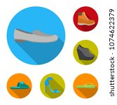 a variety of shoes flat icons...   Shutterstock .eps vector #1074622379