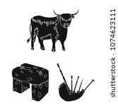 country scotland black icons in ... | Shutterstock .eps vector #1074623111