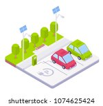 electric car parking concept... | Shutterstock .eps vector #1074625424