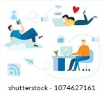young people communicate... | Shutterstock .eps vector #1074627161