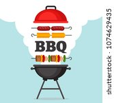 bbq party background with grill ... | Shutterstock .eps vector #1074629435