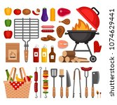 bbq tools set. barbecue grill ... | Shutterstock .eps vector #1074629441
