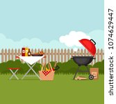 bbq party background with grill.... | Shutterstock .eps vector #1074629447
