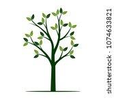 green tree. vector illustration. | Shutterstock .eps vector #1074633821