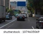 traffic jam on main street with ... | Shutterstock . vector #1074635069