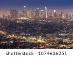 los angeles downtown sunset... | Shutterstock . vector #1074636251