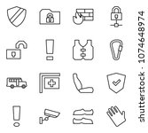 flat vector icon set   shield... | Shutterstock .eps vector #1074648974