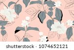 Stock vector floral seamless pattern white jasmine flowers paenia lactiflora flowers with black outline leaves 1074652121