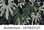 floral seamless pattern  green... | Shutterstock .eps vector #1074652127