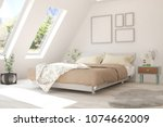 white bedroom with summer... | Shutterstock . vector #1074662009