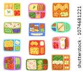 lunch box vector school... | Shutterstock .eps vector #1074681221