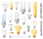 light bulb vector lightbulb... | Shutterstock .eps vector #1074681284