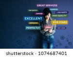 customer experience concept.... | Shutterstock . vector #1074687401
