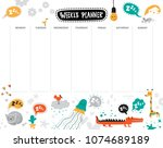 vector weekly planner with cute ... | Shutterstock .eps vector #1074689189