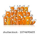 foxes big family  sketch for...   Shutterstock .eps vector #1074690605