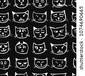 cat faces  seamless pattern for ...   Shutterstock .eps vector #1074690665