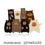 funny bears family  sketch for...   Shutterstock .eps vector #1074691235