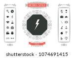 thunderstorm lightning icon | Shutterstock .eps vector #1074691415