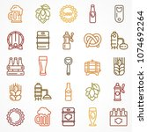 set of linear color beer icons... | Shutterstock .eps vector #1074692264